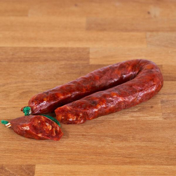 sarta de chorizo picante elaborada con carne de cerdo y especias ecologica