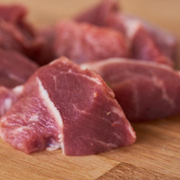 Magro troceado de cerdo criado de forma ecológica