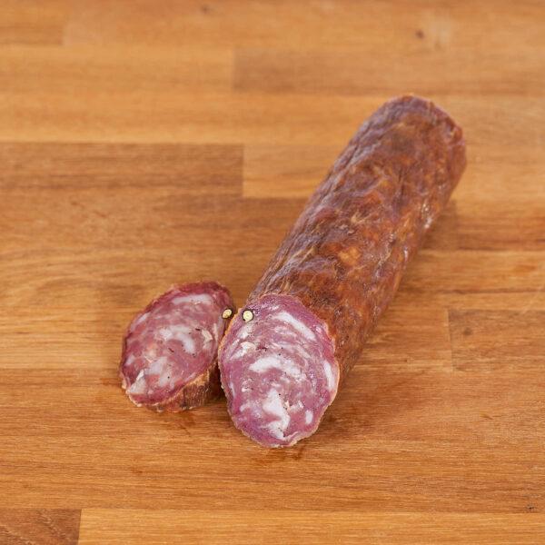 taco de salchichón elaborado a partir de carne de cerdo alimentado de productos bio