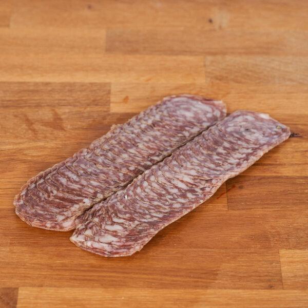 salchichón loncheado elaborado con carne de cerdo ecológico
