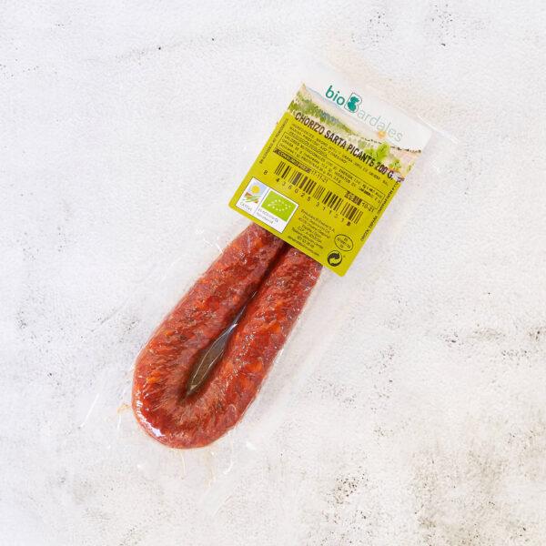 sarta de chorizo picante elaborada con carne y especias ecológicas